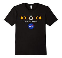NASA Total Solar Eclipse August 21 2017 T-Shirt Male Large Black...