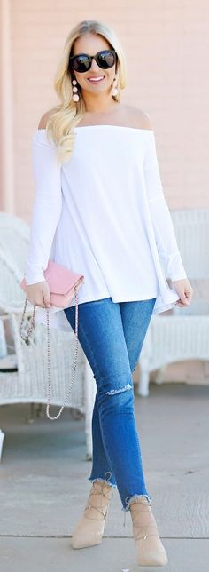 perfect spring outfit ideas / White Off Shoulder Knit / Bleached Skinny Jeans / Beige Laced Up Pumps