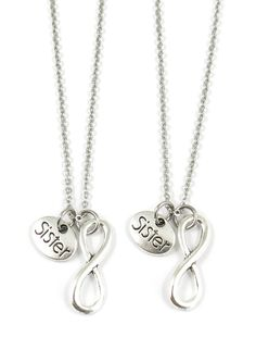 Infinity Sister Charm Best Friend Sisters Necklaces or Keychains BFF Gift (Necklace)