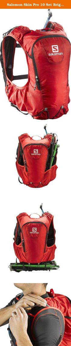 Salomon Skin Pro 10 Set Bright Red / Black One Size. FEATURES of the Salomon Skin Pro 10 Set Motionfit trail Sensifit (pack) Adjustable sizing Large twin link Sensi compression 1 Main compartment 2 Front soft hydration elastic pockets 2 Stretch front pockets 2 Zipped side pockets 1 Internal pocket Custom system Extra custom carrier 4D pole holder Helmet loops Soft trims Whistle Reflective Soft 1.5l bladder - PVC, bisphenol-a free Plug-n-play system Under arm routing 4D bladder insulated...