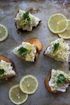 Artichoke-Pesto Crostini w/ Lemon Ricotta by heathercristo.com {no link just showstopper food}