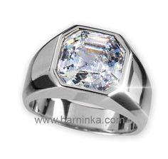 18K white gold mens ring with Asscher cut in Antwerp diamond by Barninka.  www.Barninka.com