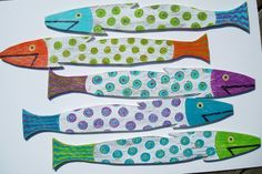 Colorful wooden Folk Art picket fence fish. U by justbeachyshop