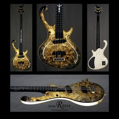 Roya 4-string bass with Flamed maple body and Buck Eye Burl Top
