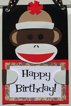 Sock Monkey Door Sign  Birthday Party Room by HatterandHareEvents, $15.00