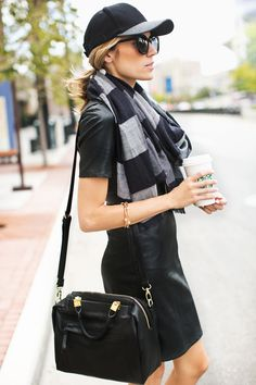 LOOK 1. Vegan Leather Dress // Black and Grey Plaid Scarf (also lovingthis plaid one) // Two tone Baseball Hat// Grey Boots(also loving these) // Black Cross Body//Karen Walker Sunglasses LOO…
