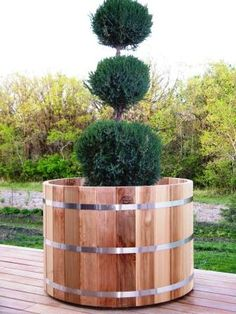 very large wood cedar planters