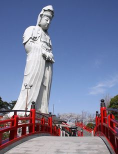 Kannon Statue and Cherry Blossoms - Gunma Japan.