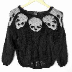 Fuzzy Furry Hairy Skull Goth Punk Hi-Lo Halloween Ugly Sweater Sweater Shop, Ugly Sweater, Sweaters, Spooky Halloween, Image Search, Goth, Skull, Punk, Shopping