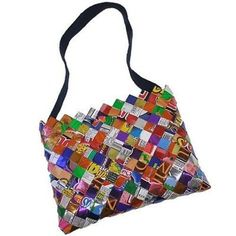 Foil Wrapper Shoulder Bag with Dark Fabric Strap  Unique eco friendly  handbag made from foil candy and snack wrappers. Sturdy with a zipper  closure and a ... 44a3352661