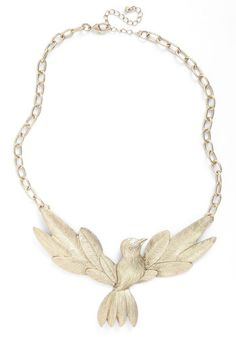 This necklace represents the birds in the painting that are flying around the girl. #modcloth #mckernan