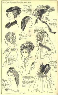 Early 1860's ladies hats by dominique