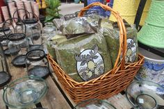 Moss topiaries & chandeliers at The Barn Nursery www.barnnursery.com 110813