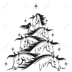 Christmas Tree Of Horses Heads Royalty Free Cliparts, Vectors, And Stock Illustration. Christmas Tree Stencil, Christmas Tree Drawing, Christmas Tree Ornaments, Christmas Horses, Cowboy Christmas, White Christmas, Xmas, Horse Head, Horse Art