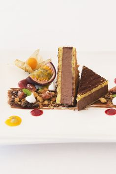 Teresa Buongiorno's incredible dessert recipe features many layers of flavour and texture, from the delicate crêpe exterior soaked in almond milk to the rich chocolate mousse centre. Passion fruit and berry purées add final freshness to the dish.