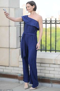 b308d45c57a2 Katie Holmes turns heads in pleated jumpsuit during rooftop photoshoot