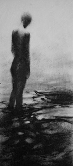 Haunting Figure Drawing Gothic Moody Dark Shadow Crayon Wading Water Fog Fine…