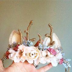 Woodland Deer Flower Crown with Antlers от masonandharlow на Etsy