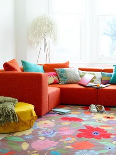 diseño living naranja