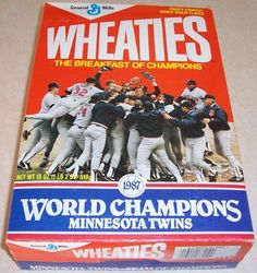 cfa95f64a7a Minnesota Twins 1987 World Champions Wheaties Cereal Box Empty