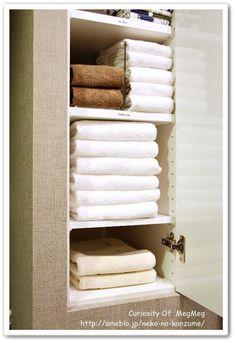 洗面所●タオルの収納とたたみ方 の画像|メグメグの好奇心♪♪ 収納インテリア