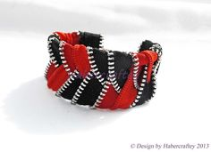 Handmade Plated zipper cuff bracelet - zip craft - ready to send. £12.50