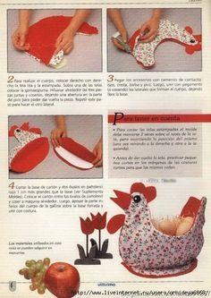 """Materiales gráficos Gaby: Cesta """"Gallina porta huevos""""incluye molde de costura y paso a paso"""