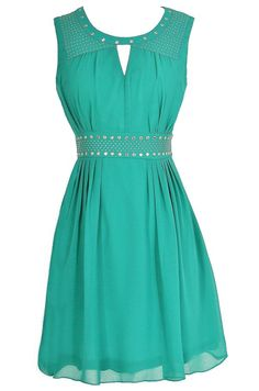 Gold Studded Chiffon Dress in Jade  www.lilyboutique.com