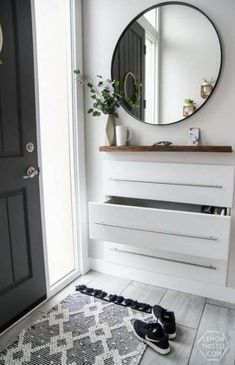 DIY Split Level Entry Makeover- I LOVE this entry. The oversize door, scandi influence and that shoe storage! DIY Split Level Entry Makeover- I LOVE this entry. The oversize door, scandi influence and that shoe storage! Entryway Shoe Storage, Entryway Organization, Entryway Decor, Entryway Ideas, Narrow Entryway, Hallway Ideas, Organized Entryway, Door Entryway, Entry Hallway
