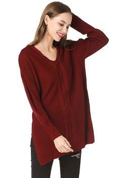 ebef98d14bd V Neck Long Sleeve Drop Shoulder Split Side Cable Knit Sweater Ruby