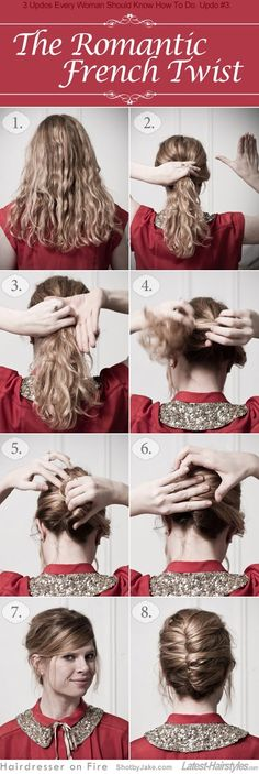 The romantic french twist how-to. Tease if you have medium hair for fullness and use lots of pins either way!