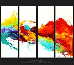 4pc Abstract Art Painting on Canvas 48x36 Original by wostudios