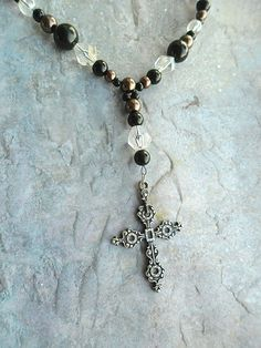 Homemade choker with metal cross by JHFWBeadsAndFindings