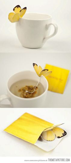 Butterfly tea bag - with directions for making it.
