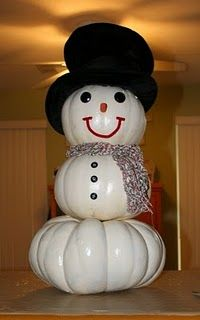 Pumpkin Snowman!  (He can transition into your Christmas decorations later......if you're using faux pumpkins, that is.)