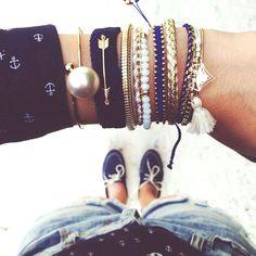 Sailor Navy Blue Gold Multiple Bracelets