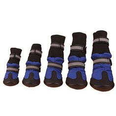 VIGOROSO Pet Dog 4Pcs Waterproof Shoes Anti-Slip Protective Boots Labrador Husky Protect(M,Blue) * Find out more at the image link.