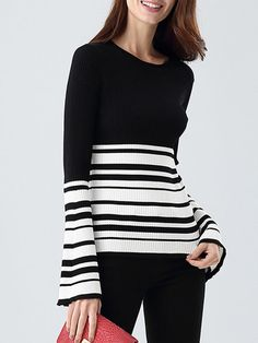 Black Casual Scoop Neckline Knitted Stripes Sweater
