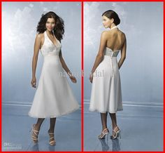 Wholesale Fashionable New Design Halter V Neck Sexy Backless Appliques Beaded Tea-length Short Wedding Dresses, Free shipping, $100.8-123.2/Piece | DHgate