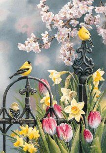 Victorian Seasons-Spring Goldfinches by Susan Bourdet