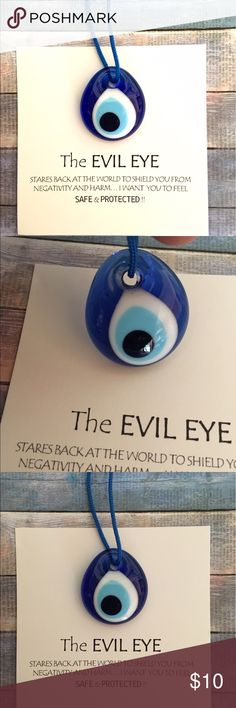 Turkish Evil Eye Protection Amulet  From Turkey  NICEBlue Glass Evil Eye Protection Gift with Card. Has blue string to hang from Car Mirror, etc. makes a Great Gift ✨ Bundle and save. Only have two of these Accessories