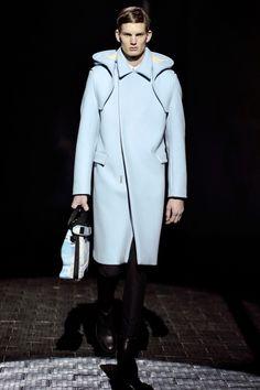 Kenzo 2013 Fall Collection...ice blue hooded mens coat