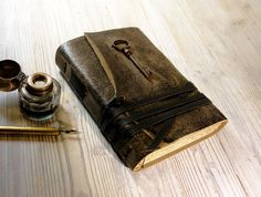 Unspoken  Leather Journal with Antique Skeleton by MedievalJourney, $58.00