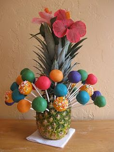 Inspiration~insert cake pops in pineapple
