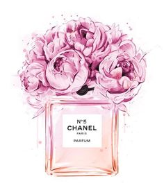 Chanel perfume illustration with peonies. Print out and plac .- Chanel perfume illustration with peonies. Print out and place in frame for decor… Chanel perfume illustration with peonies. Visit our shop if it does not have to be Chanel …. Perfume Chanel, Chanel Chanel, Coco Chanel Fashion, Chanel Bags, Fashion Illustration Chanel, Illustration Mode, Fashion Illustrations, Design Illustrations, Peony Illustration