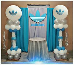 Adidas branded balloon columns in corporate colors