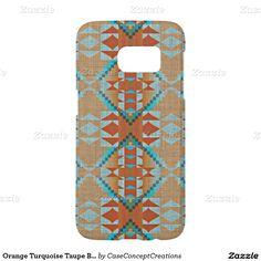 Orange Turquoise Taupe Brown Rustic Mosaic Pattern Samsung Galaxy S7 Case