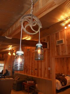 One Of My Favorite Things At The Cabin! Old Cistern Pulley+antique Blue  Mason