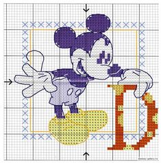Alphabet lettres point de coix Mickey la souris (1) Stitch Disney, Alphabet Images, Cross Stitch Fairy, Mickey Y Minnie, Disney Mouse, Stitch 2, Le Point, Fairy Tales, Kids Rugs