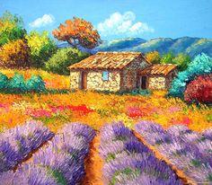 jean marc janiaczyk art painting | Cabanon aux lavandes.